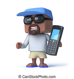 3d Sailor dude has a mobile phone
