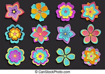 3d, sakura, ensemble, fleurs, coloré