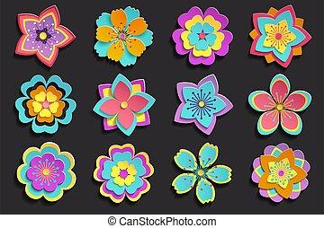 3d, sakura, jogo, flores, coloridos