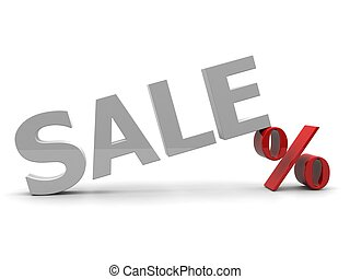3D Sale and percent sign isolated over white