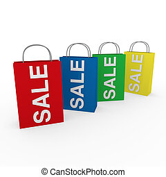 3d sale bags colorful - 3d sale bag red retail shopping ...