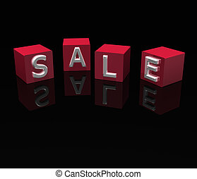 3D sale blocks with reflection