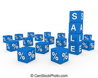3d sale cube blue