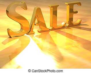 3D Sale Gold text over yellow background