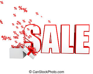 3d sale text with percentage symbol