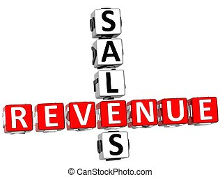 3D Sales Revenue Crossword on white background