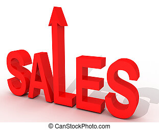 3d sales up concept. business illustration  on white background