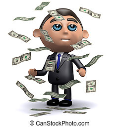 3d Salesman gets a windfall of US Dollar bills - 3d render...