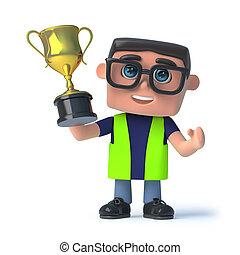 3d, salud y seguridad, hombre, gana, el, taza de oro, trofeo