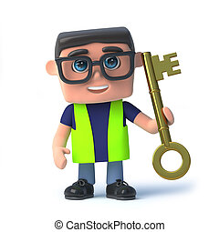 3d, salud y seguridad, hombre, tenencia, un, llave oro