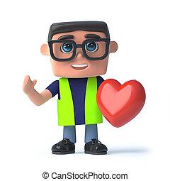 3d, salud y seguridad, oficial, tenencia, un, corazón rojo
