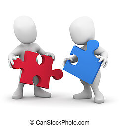 3d, samenwerken, twee mensen