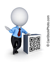 3d samll person and QR code. - 3d small person and QR...