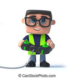 3d, santé sécurité, officier, jeux, a, videogame