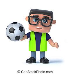 3d, santé sécurité, officier, tenue, a, football