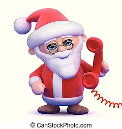 3d Santa answers the phone