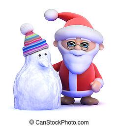 3d Santa Claus and snowman