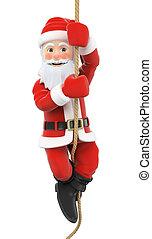 3D Santa Claus climbing a rope