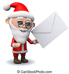 3d Santa Claus gets mail