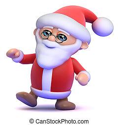 3d Santa Claus is dancing at the party - 3d render of Santa...