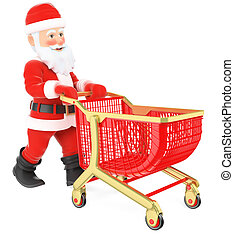 3D Santa Claus pushing a shopping cart - 3d christmas people...