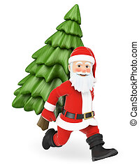 3D Santa Claus running with a fir tree on back
