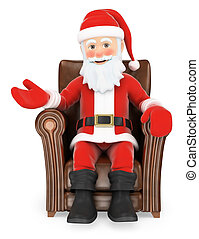 3D Santa Claus sitting on a leather sofa