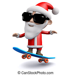 3d Santa Claus skateboarding