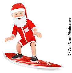 3D Santa Claus surfing on a board