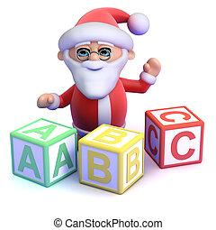 3d Santa Claus teaches the alphabet