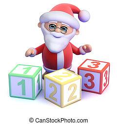 3d Santa Claus teaches you to count