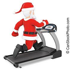 3D Santa Claus training hard on a treadmill