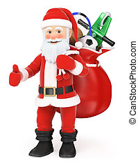 3D Santa Claus with a sack full of toys and thumb up