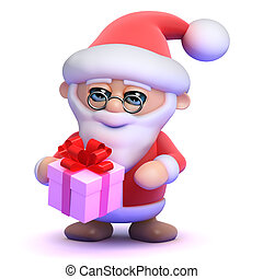 3d Santa Claus with a small gift