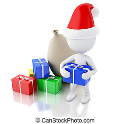 3d Santa Claus with bag and gift boxes. Christmas concept.