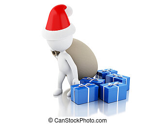 3d Santa Claus with bag and gifts. Christmas concept.