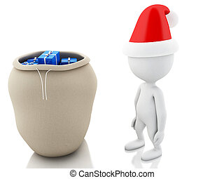 3d Santa Claus with bag full of gifts. Christmas concept.