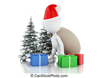 3d Santa Claus with bag, gifts and Christmas tree in fresh snow. Christmas concept.