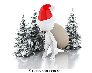 3d Santa Claus with bag of gifts and Christmas tree in fresh snow. Christmas concept.