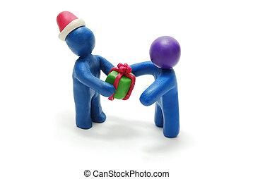 3d, santa, donner, cadeau, à, personne