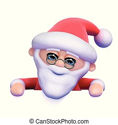 3d Santa looks over the top of blank space