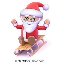 3d Santa on a sledge