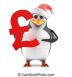3d Santa penguin holding a UK Pounds symbol