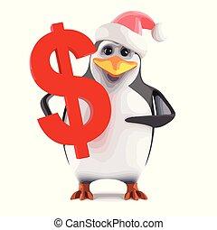 3d Santa penguin holding a US Dollar symbol