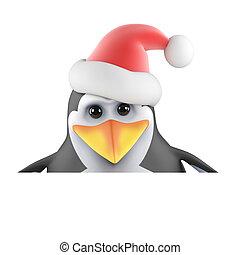 3d Santa penguin peeps over the top