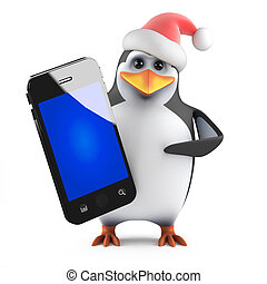 3d Santa penguin with a smartphone