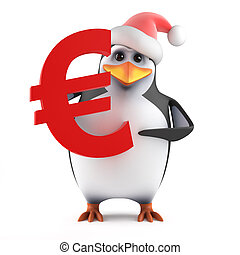 3d Santa penguin with Euro currency symbol