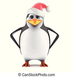 3d Santa penguin with hands on hips