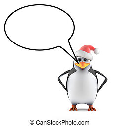 3d Santa penguin with speech bubble