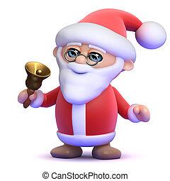 3d Santa rings his bell